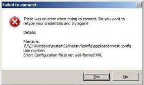 Configuration file is not well-formed XML