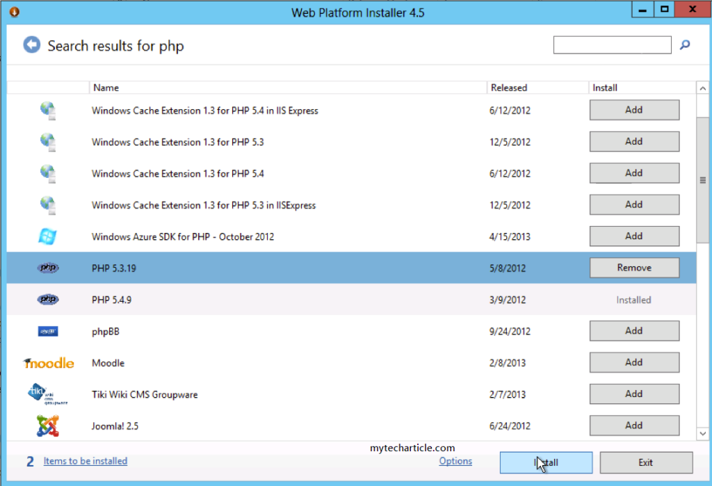How To Install PHP In Windows Server 2012
