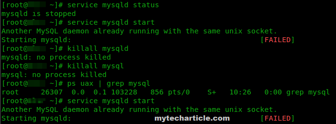 Another MySQL daemon already running with the same unix socket