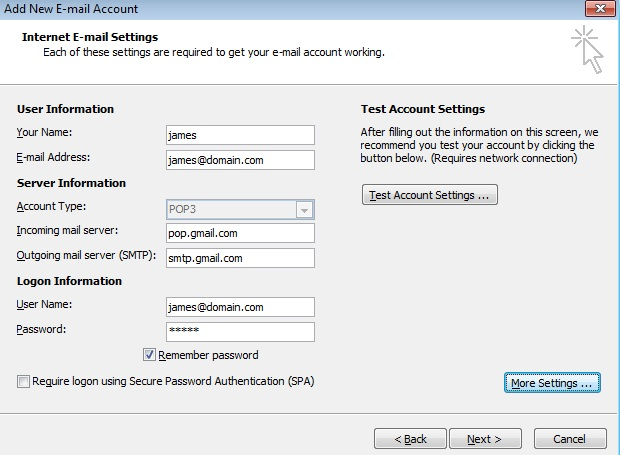 How To Configure Google Apps In Outlook 2007-01