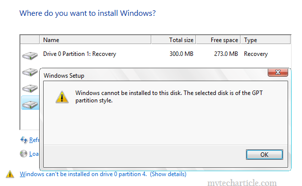 windows cannot be installed to  this disk01