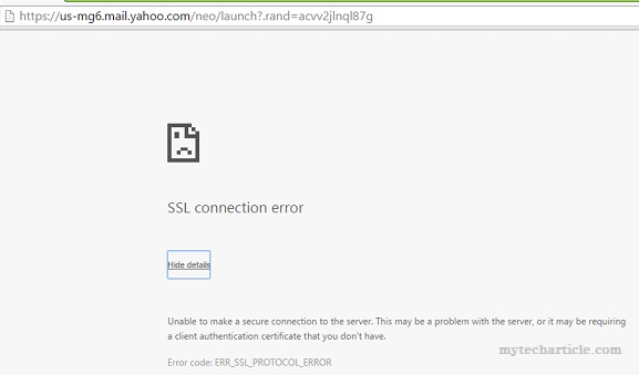 Yahoo Mail Service Failure With SSL Connection Error